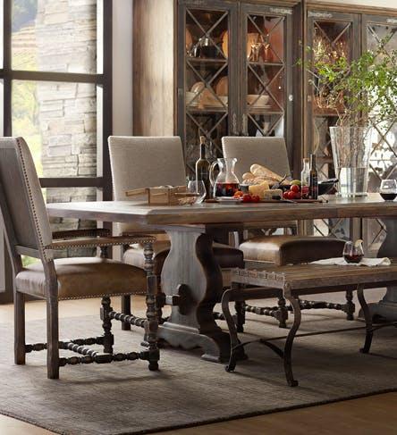 Hooker furniture bedroom corsica king upholstery shelter for Dining hall furniture
