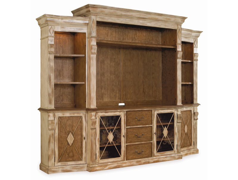 unusual solid wood media cabinet. TV Stands with Hutches  Wall Units Home Entertainment Furniture Consoles Hooker